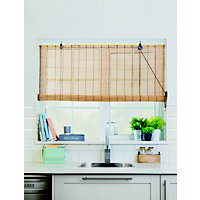 Homebase Brown Bamboo Roll Up Blind 120cm
