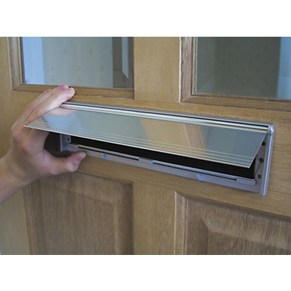 image for stormguard internal letter box plate with flap draught excluder chrome effect from storename letter box cover