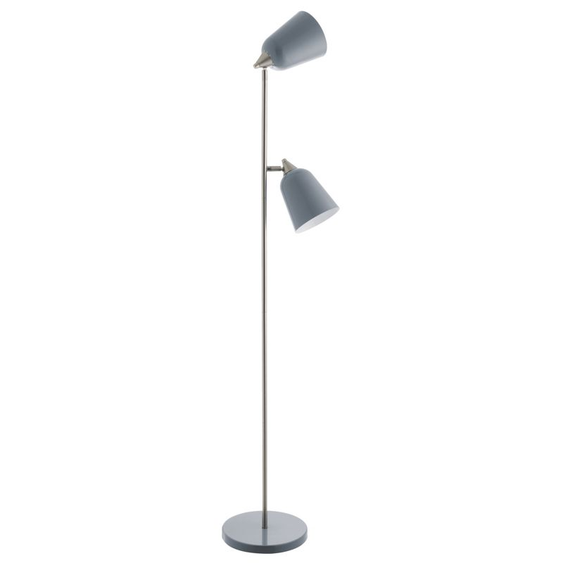 Habitat double grey metal twin head floor lamp for Habitat metal floor lamp