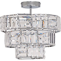 Pheobe 3 Tier Flush Ceiling Light - Clear