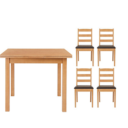 Bloomington Extending Square Table And 4 Slatted Chairs Oak