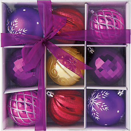 Pack Of 9 Fuchsia Gold Red Baubles At Homebase Be