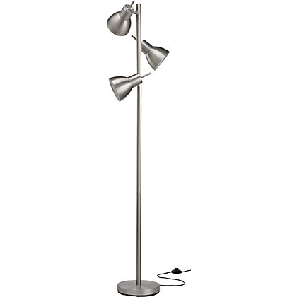 triple head floor lamp brushed chrome With triple head floor lamp brushed chrome
