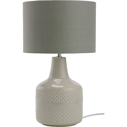 Image for Patterned Ceramic Table Lamp - Oatmeal from StoreName