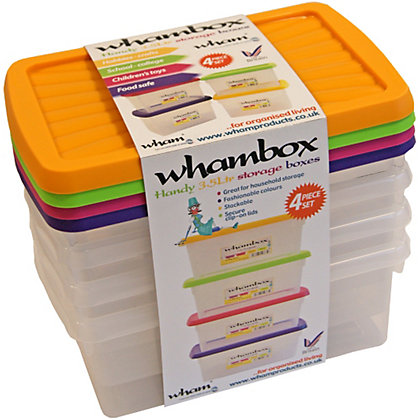Image for Whambox 4 Piece Handy Storage Boxes - 3.5L from StoreName
