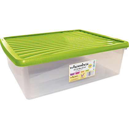 Image for Wham 23L Storage Box and Lime Green Lid from StoreName