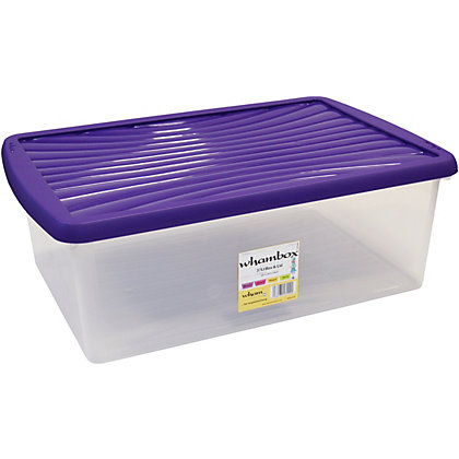 Image for Wham 37L Storage Box with Violet Lid from StoreName
