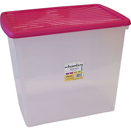 Image for Wham 90L Storage Box with Fuchsia Lid from StoreName