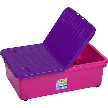 Image for 32L Box With Wheels Pink With Purple Lid from StoreName