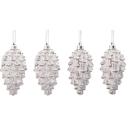 White Pinecones Pack Of 4