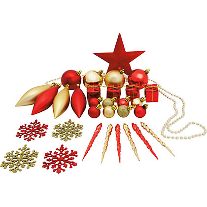 Pack Of 75 Assorted Red Gold Decorations At Homebase