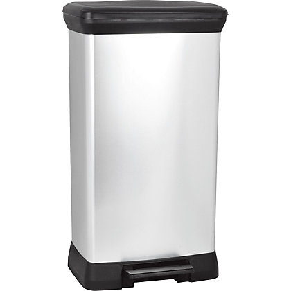 Image for Curver Deco Pedal Bin - 50L - Silver from StoreName