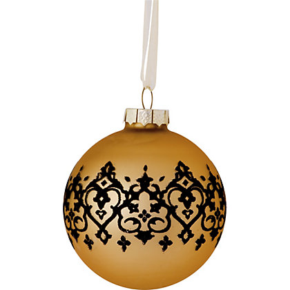 Gold Glass Bauble With Damask Band At Homebase Be