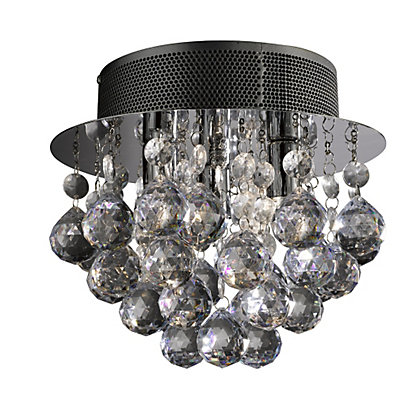 Image for Hayley Droplet Flush Ceiling Light - Silver from StoreName