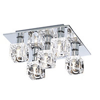 Glass Ice Cube 5 Light Flush Ceiling Light - Silver