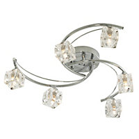 Glass Ice Cube 6 Light Flush Ceiling Light - Silver