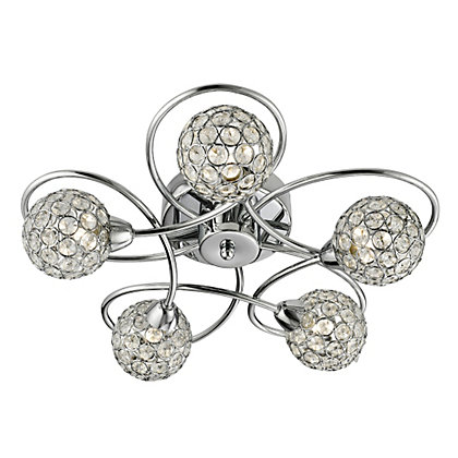 Image for Beaded 5 Light Flush Ceiling Light - Silver from StoreName