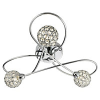 Beaded 3 Light Flush Ceiling Light - Silver