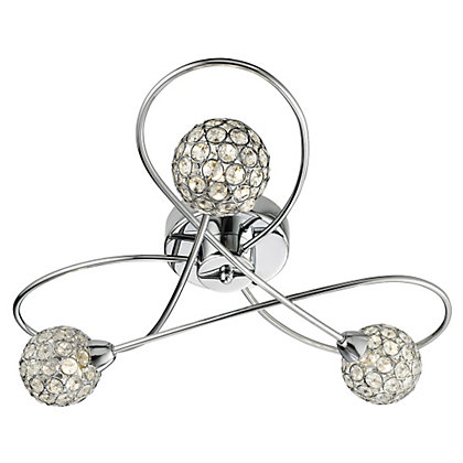 Image for Beaded 3 Light Flush Ceiling Light - Silver from StoreName