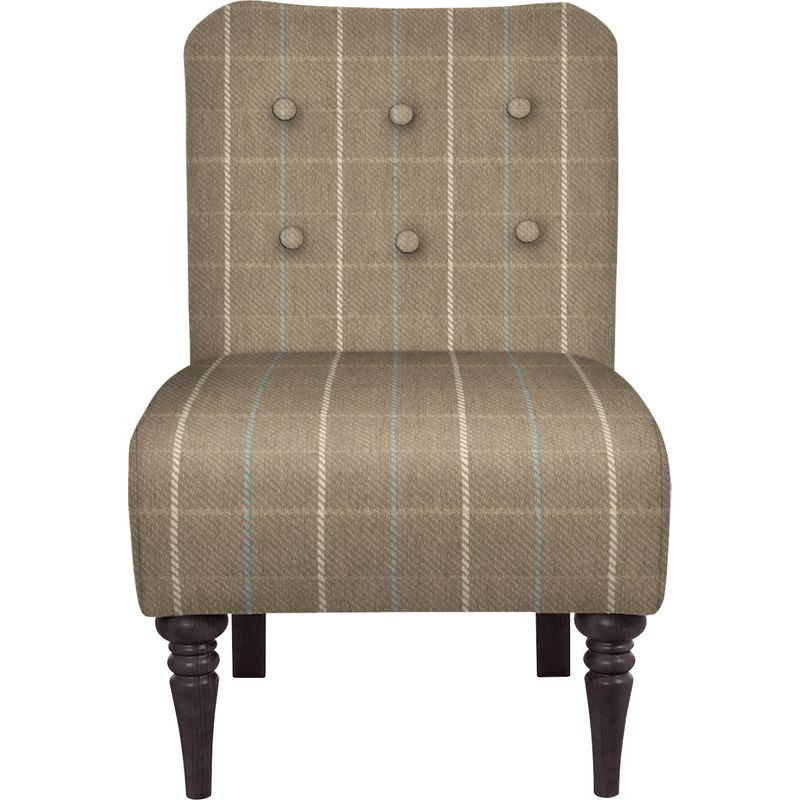Schreiber Tilney Armless Chair Angus Beige and Duck Egg – Dark Feet