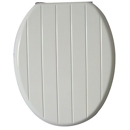 Image for White Tongue And Groove Toilet Seat from StoreName