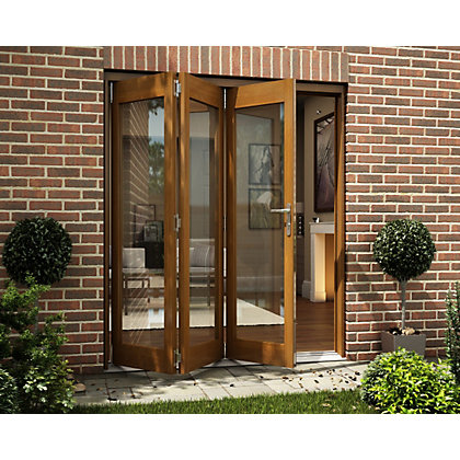 Image for Oak Veneer Folding Sliding Patio Doorset - 1794mm Wide from StoreName