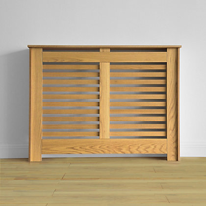 Image for Virginia Radiator Cabinet Oak Veneer - (W)117.6 x (H)87.8 x (D)20.3cm from StoreName