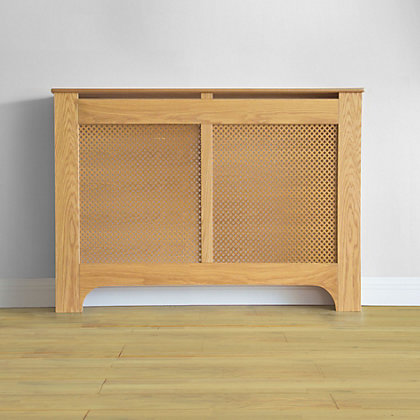 Image for Richmond Radiator Cabinet Oak Veneer - (W)120 x (H)90 x (D)20cm from StoreName