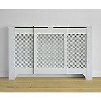 Richmond Radiator Cabinet Smooth White - (W)97.5-142.5 x (H)91.5 x (D)21.5cm