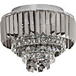 Crystal Prism Flush Ceiling Light - Silver