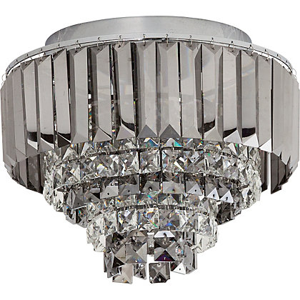Image for Crystal Prism Flush Ceiling Light - Silver from StoreName