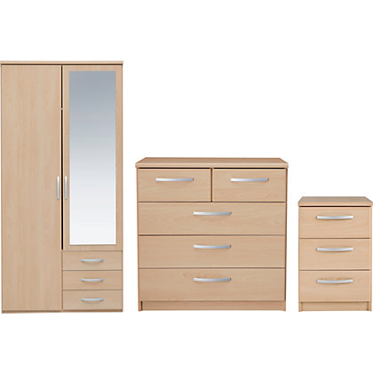 Hygena Strand 3 Piece Bedroom Furniture Package Oak At Homebase Be Inspired And Make Your