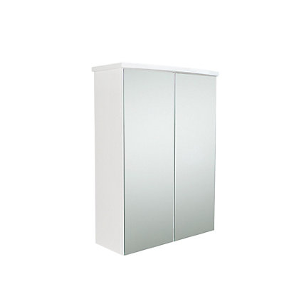 pompeii bathroom mirror double door cabinet white gloss