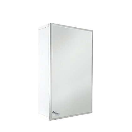 Image for Vettii Bevelled Mirror Bathroom Single Door Cabinet - White from StoreName