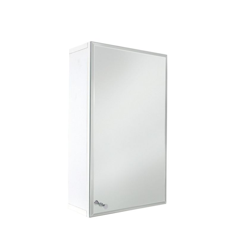 vettii bevelled mirror bathroom single door cabinet white