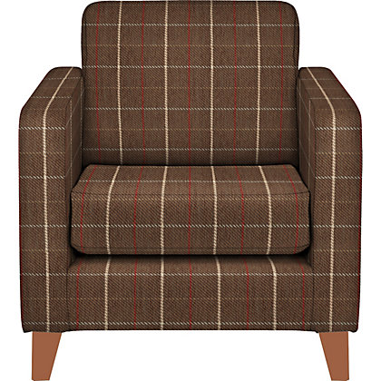 Schreiber Lynford Chair Angus Chocolate And Red Check Light Feet