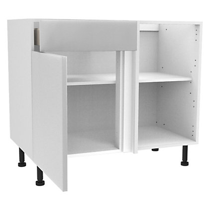 Image for Simply Hygena Chancery - Gloss White - 1000mm Premium Drawer Line Corner Base Unit from StoreName