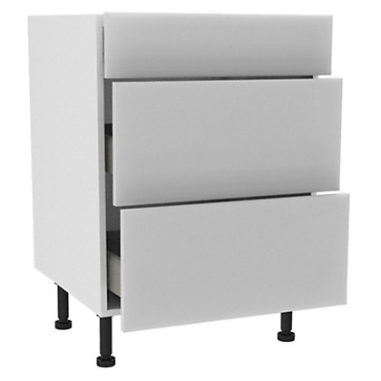 Image for Simply Hygena - Chancery White Gloss 3 Drawer Base (Premium) - 600mm from StoreName