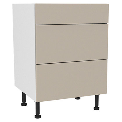 Image for Simply Hygena - Chancery Cream Gloss 3 Drawer Base (Premium) - 600mm from StoreName