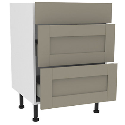 Image for Simply Hygena Amersham - Grey - 600mm Premium 3 Drawer Base Unit from StoreName