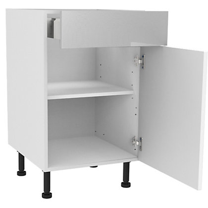 Image for Simply Hygena Elverson - Gloss White - 500mm Premium Drawer Line Base Unit from StoreName