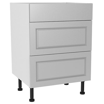 Image for Simply Hygena Elverson - Gloss White - 600mm Premium 3 Drawer Base Unit from StoreName