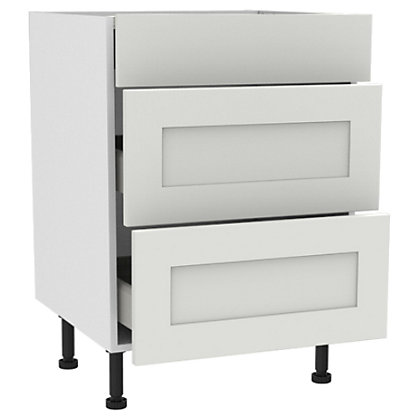 Image for Simply Hygena Gloucester - White - 600mm Premium 3 Drawer Base Unit from StoreName