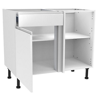 Image for Simply Hygena Kensal - Gloss White - 1000mm Premium Drawer Line Corner Base Unit from StoreName