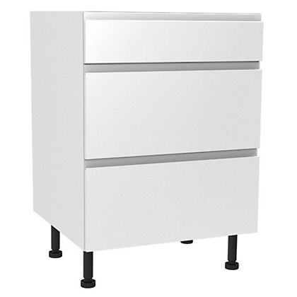Image for Simply Hygena Kensal - Gloss White - 600mm Premium 3 Drawer Base Unit from StoreName