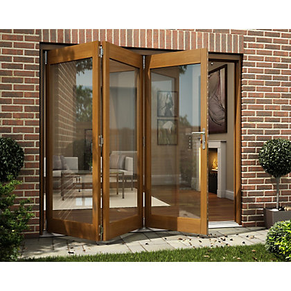 Image for Oak Veneer Folding Sliding Patio Doorset - 2394mm Wide from StoreName