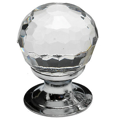 Image for Faceted Glass Door Knob - Chrome Plated - 30mm from StoreName