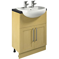Canterbury Oak Vanity Unit and Basin - 600mm