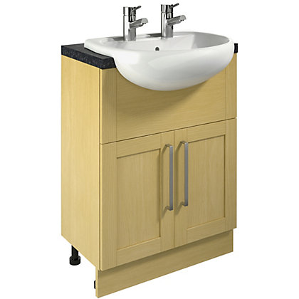 Image for Canterbury Oak Vanity Unit and Basin - 600mm from StoreName
