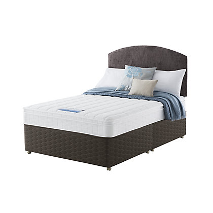 Sealy posturpedic classic non storage double divan mocha for Double divan bed with storage